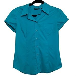 New York & Co. Blue Short Sleeve Collared Blouse